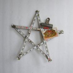 vintage folding ruler star wooden ruler,