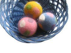 Wool dryer balls large set of 3 color felted polka by feltinga, $18.00