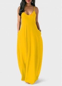 Ginger Open Back Spaghetti Strap Maxi Dress #WomenFashion