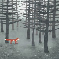 "I've liked several of this artists works for their simplicity and their play with color.  This one is called ""The Fox and the Forest."""