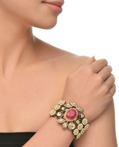 Pearl Bracelet with Ruby Centre-Stone #Jewelry #Fashion #New #Stones #Studded #Ethnic #Indian #Traditional