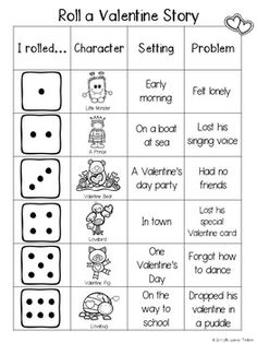 Roll a Story : Valentine's Day Roll A Story, Build A Story, Dancing Day, Student Engagement, Holiday Fun, Valentines Day, Rolls, Classroom, Writing
