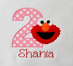 ELMO for girls!!!! This listing is for one short or long sleeve white ELMO themed Birthday Shirt or Bodysuit (onesie) using a pink and white polka dot