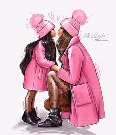 Mother And Daughter Drawing, Daughter Love, Mother Daughters, Mother Son, Arte Fashion, Pink Fashion, Style Fashion, Fashion Outfits, Black Girl Art