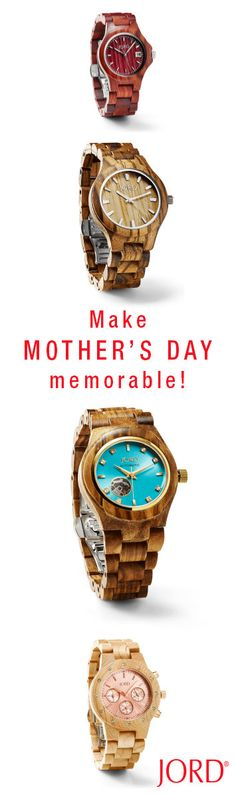 Guaranteed domestic delivery for all orders placed by Wednesday May, 4th! Gift Mom with a timepiece that will mark the moment in a memorable way.                                                                                                  JORD creates wooden timepieces that will be Shop our  5 women's series and find her perfect present today at woodwatches.com Extended return period for gifts. One year warranty. Ships worldwide!