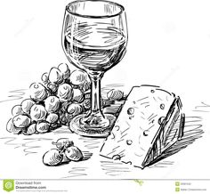 Vector drawing of a wine glass, grape and cheese.