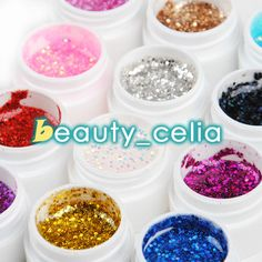 Remove tacky layer and sticky residue with Cleanser Plus and Wiping Solution. Gels must be mixed well before use. Do not expose to light or excessive heat. Use only as directed. 12 Color Big Glitter UV Gel.