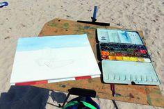 Fischerboote malen auf Rügen | Skizze von den Fischerboote am Strand von Baabe (c) Frank Koebsch