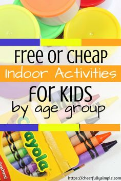 Maybe you have sick kids and you're looking for some indoor activities for them to do. This list of free or cheap indoor activities for kids is seperated by age group, and will help you come up with some great activities for your kiddos! Free Activities For Kids, Indoor Activities For Kids, Home Activities, Summer Activities, Games For Kids, Toddler Games, Indoor Games, Outdoor Activities, Manualidades
