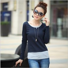 2015 new spring and autumn fashion Slim false two plus size women's long-sleeve T-shirt bottom shirt tops tees clothing female