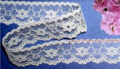 """Lace Trim White 14 Yards Scalloped 6/8""""-7/8"""" Floral R01V Added Trims ShipFree #USMade #Scalloped"""