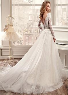 Graceful Tulle Off-the-Shoulder Neckline A-line Wedding Dresses with Beaded Lace…