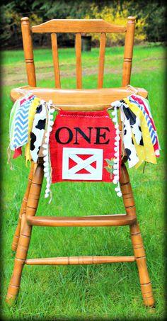 Farm theme birthday banner/high chair by PrettyLittleClippie