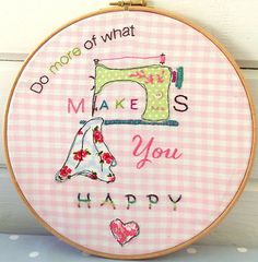 Happy Hoop Art | Would look great in my craft room.  Love it!
