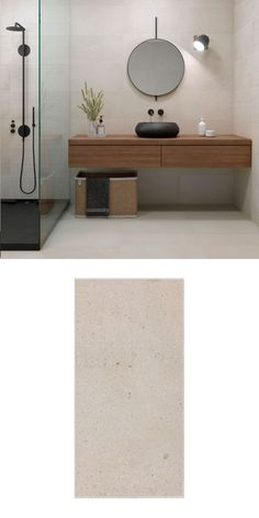 These Ereka Sand Tiles have a charming limestone effect design, which is perfect for creating a relaxing natural sanctuary in your home. They're made from porcelain, so they can be used on both walls and floors, and they have a naturalistic matt finish wi Bathroom Floor Tiles, Wall And Floor Tiles, Bathroom Colors, Bathroom Tiles Combination, Wall Color Combination, White Wall Tiles, Bathroom Design Inspiration, Upstairs Bathrooms, Bathroom Renovations