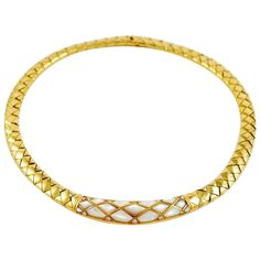 Van Cleef & Arpels Mother-of-Pearl Diamond Gold Choker Necklace