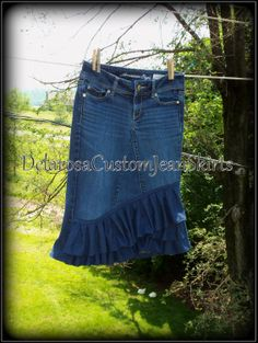 Delarosa Victorian Summer Ruffle denim skirt Custom Order to Your size 0-18. $58.00, via Etsy.