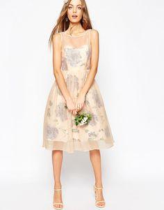 Image 4 ofASOS WEDDING Printed and Sheer Layer Prom Dress