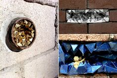 """Geode"" Project. Designer and artist A Common Name creates 3D paper sculptures in the holes of buildings and random pipes around the Los Angeles area"