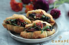 Mini croissants filled with bacon, mushroom and our own special tomato chilli jam. Topped with fresh rocket