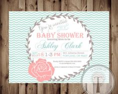 vintage baby girl baby shower candy bar ideas pink turquoise and grey | Baby Shower Invitation, BABY GIRL, Rustic, Vintage, Baby Shower ...