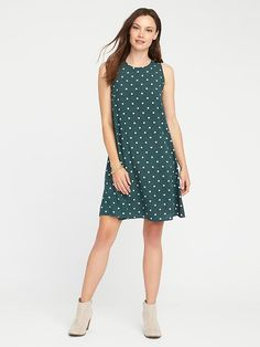 Printed Sleeveless Swing Dress for Women