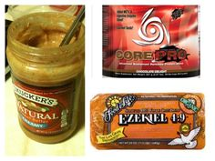 Core PRO chocolate protein powder + natural peanut butter + Ezekiel bread = awesomeness! GoTime approved meal.
