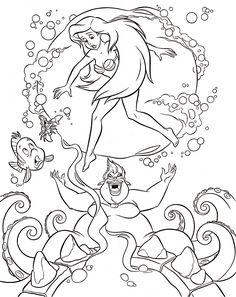 Walt Disney Coloring Pages - Flounder, Sebastian, Princess Ariel & Ursula - walt-disney-characters Photo