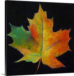 Beautiful 'Red Maple Leaf' by Michael Creese Painting Print by Great Big Canvas Wall Art Decor from top store Fall Canvas Painting, Autumn Painting, Painting Prints, Wall Art Prints, Poster Prints, Canvas Prints, Big Canvas, Fall Paintings, Leaf Paintings