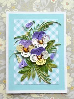 Special Order for Joyce Miller-Reed - Quilling Card with elegant violet pansies…