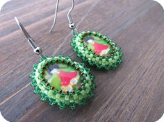 Green Girl Cabochon Beaded Earrings from Lilybiju by DaWanda.com