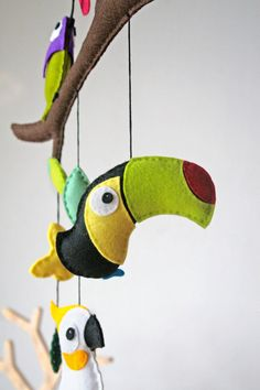 """Mobiles – Mobile """"Tropical Birds II"""" – a unique product by stierkind on DaWanda Felt Crafts, Diy And Crafts, Arts And Crafts, Panda Quilt, Bird Mobile, Felt Wreath, Felt Sheets, Hanging Banner, Animal Quilts"""