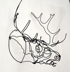 Wire elk sculpture for the apartment  #faux taxidermy #antler $80