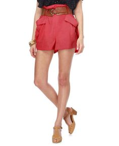 Poppy Fields Coral High Waisted shorts with fantastic brown belt.