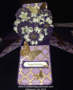 flower card in a box. stampin up flower shop stamp set. birthday card. card ideas.
