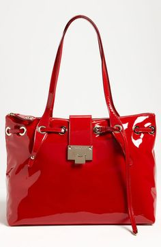 Rhea Patent Leather Tote by Jimmy Choo- need to find a cheap version! New Handbags, Fashion Handbags, Purses And Handbags, Fashion Shoes, Fashion Accessories, Trendy Handbags, Girl Fashion, Red Purses, Women Accessories