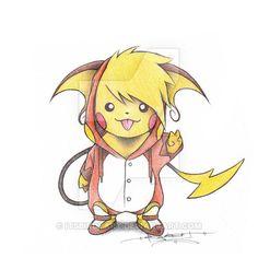 Pikachu wearing a Raichu Onsie by ItsBirdyArt.deviantart.com on @DeviantArt