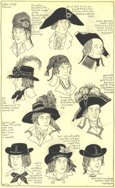 (Claudette wanted to wear mens hats but never got the chance)  Men's Hats, ca. 1789-1795