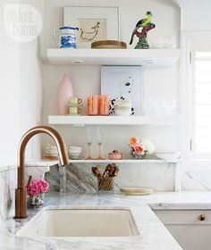 clean & simple shelving in kitchen