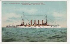 US Armored Cruiser WEST VIRGINIA Navy Ship Military Vintage Mitchell Postcard