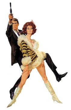 "Gregory Peck and Sophia Loren, illustrated by Robert McGinnis. Movie ""Arabesque"""