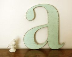 nursery wall letters wood Letter A wood signs wall sign cottage decor Sweet Mint - Seafoam Green. $32.00, via Etsy.