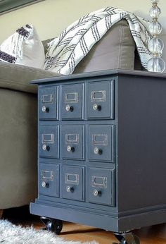 dated goodwill side table turned card catalog