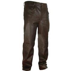 Xelement Classic Fit Brown Men's Leather Pants