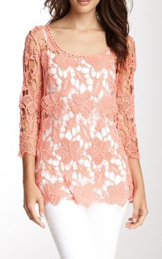 Hazel & Jaloux Cotton Crocheted Lace Top