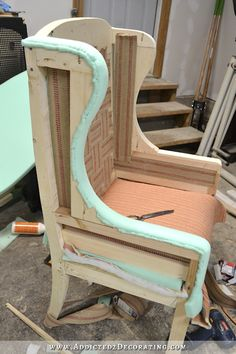 DIY Wingback Dining Chair – How To Upholster The Frame (Part – Addicted 2 Decorating® DIY Ohrensessel – wie das Gestell gepolstert wird – 39 Reupholster Furniture, Upholstered Furniture, Upholstered Dining Chairs, Refurbished Furniture, Furniture Makeover, Furniture Projects, Diy Furniture, Furniture Design, Bedroom Furniture