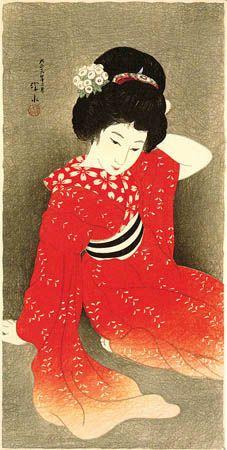 In Spring, (red kimono)  by Ito Shinsui, 1917  (published by Watanabe Shozaburo)