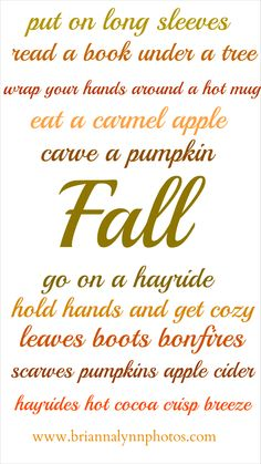 Sort of a bucket list for fall :)
