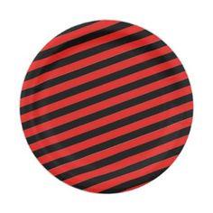 "#stripes - #7"" Paper Plates-Black & White Stripes Paper Plate"