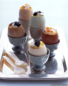 Scrambled Eggs with Creme Fraiche and Caviar in Eggshell Cups